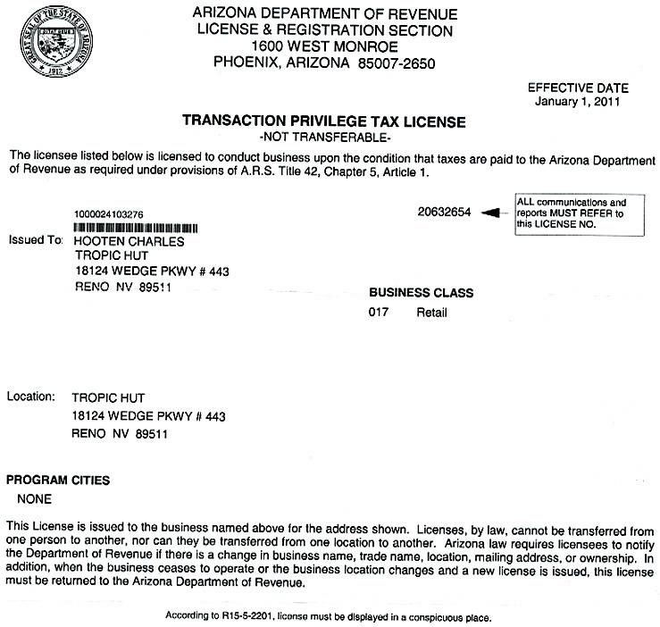 Tropic Hut Permits & Licenses