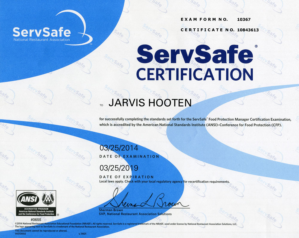 Tropic hut permits licenses servsafe certification costco food safety certificate jarvis hooten 1betcityfo Images